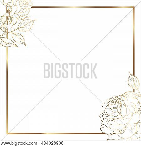 Gold Frame With Leaves. Floral Minimal Background. For Use On Social Networks. Square White Backgrou