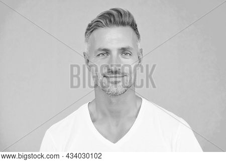 Handsome Unshaven Man. Good Looking Guy With Bristle On Face. Facial Hair Care. Male Grooming Fashio