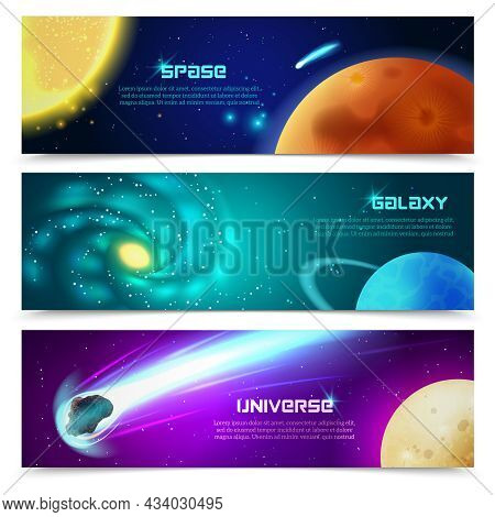 Cosmos Space Galaxy Astronomical Educational Three Horizontal Banners Set With Sun And Comets Abstra