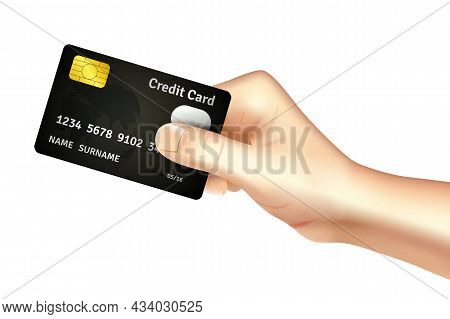 Hand Holding Credit Card For Deposit Cash Withdrawal And Money Transfer Operations Promotion Poster