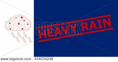 Mesh Rain Polygonal Icon Vector Illustration, And Red Heavy Rain Grunge Badge. Carcass Model Is Crea