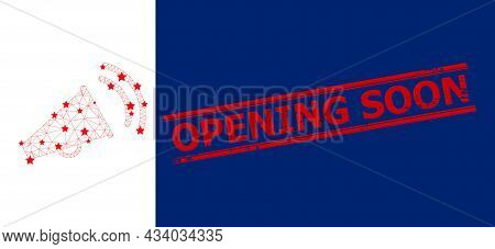 Mesh Marketing Horn Polygonal Icon Vector Illustration, And Red Opening Soon Rubber Stamp Imitation.