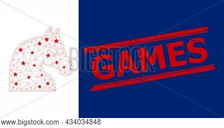 Mesh Chess Horse Polygonal Icon Vector Illustration, And Red Games Scratched Watermark. Model Is Bas