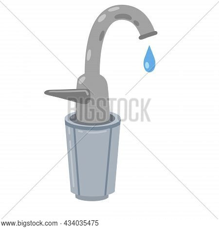 Tap With Filter. Kitchen Faucet With Filtration. Replacement Cartridge. Flat Cartoon Illustration