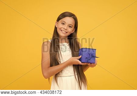 Long Awaited Present. Happy Childhood. Cheerful Little Girl Hold Gift Box. Boxing Day Concept. Small