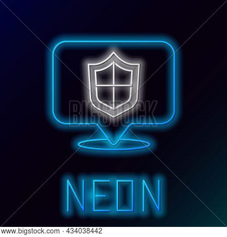 Glowing Neon Line Location Shield Icon Isolated On Black Background. Insurance Concept. Guard Sign.