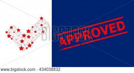 Mesh True Polygonal Icon Vector Illustration, And Red Approved Rough Stamp Seal. Carcass Model Is Ba