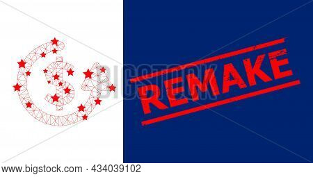 Mesh Repeat Payment Polygonal Icon Vector Illustration, And Red Remake Scratched Badge. Model Is Bas