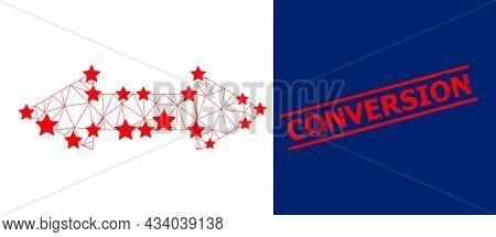Mesh Horizontal Exchange Arrow Polygonal Symbol Vector Illustration, And Red Conversion Dirty Stamp