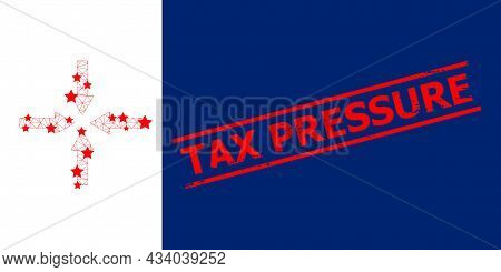 Mesh Shrink Arrows Polygonal Icon Vector Illustration, And Red Tax Pressure Rough Stamp Seal. Carcas