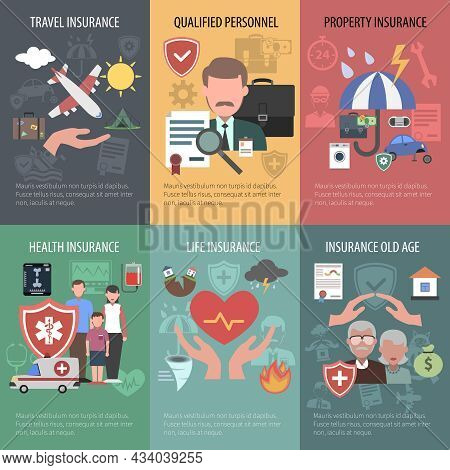 Insurance Mini Poster Set With Travel Property Old People Health Protection Isolated Vector Illustra