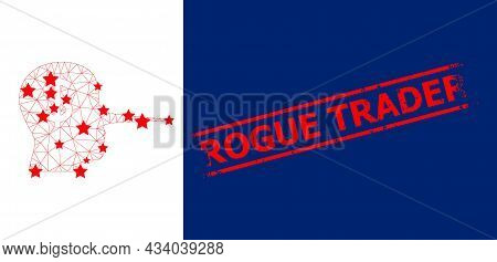 Mesh Financial Liar Polygonal 2d Vector Illustration, And Red Rogue Trader Rubber Stamp Print. Model