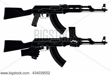 Machine Gun. Weapon. Silhouette. Machine Gun In Hand. Weapons Ready For Use.