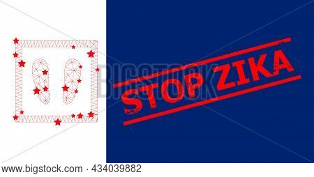 Mesh Stay Here Polygonal Icon Vector Illustration, And Red Stop Zika Rough Seal. Carcass Model Is Cr