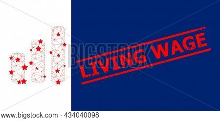 Mesh Bar Chart Polygonal Icon Vector Illustration, And Red Living Wage Scratched Watermark. Carcass