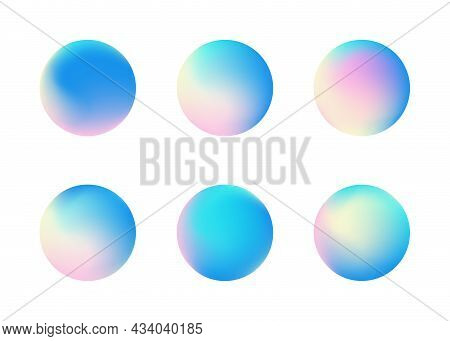 Set Of Holographic Gradient Sphere.  Vibrant Gradient Bright Glowing Rounds. Vector Illustration