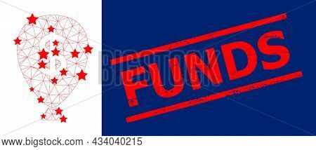 Mesh Financial Inflation Balloon Polygonal 2d Vector Illustration, And Red Funds Dirty Stamp Seal. C
