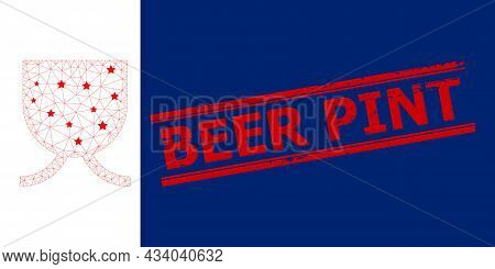 Mesh Full Mug Polygonal Icon Vector Illustration, And Red Beer Pint Rubber Stamp Print. Model Is Cre