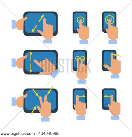 Tablets And Smartphones Touchscreen Gestures Turn Select Enlarge Reduce Icons Set Flat Isolated Vect