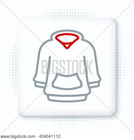 Line Hoodie Icon Isolated On White Background. Hooded Sweatshirt. Colorful Outline Concept. Vector