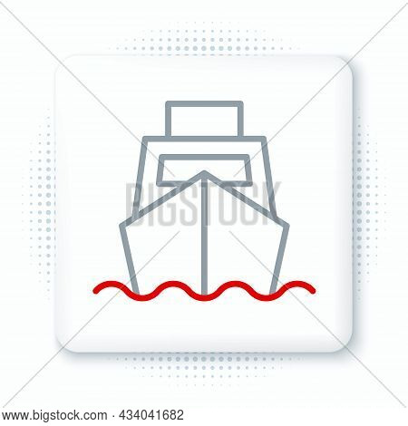 Line Cargo Ship With Boxes Delivery Service Icon Isolated On White Background. Delivery, Transportat