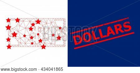 Mesh Dollar Banknote Polygonal Icon Vector Illustration, And Red Dollars Grunge Seal. Model Is Creat