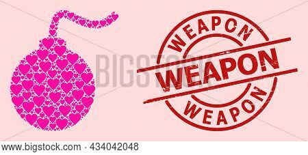 Distress Weapon Stamp, And Pink Love Heart Collage For Bomb. Red Round Stamp Includes Weapon Text In