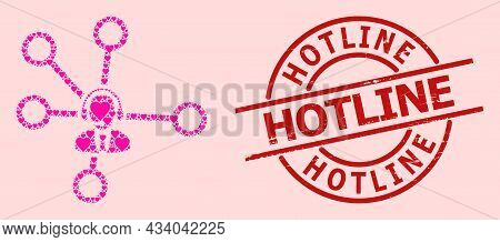 Textured Hotline Seal, And Pink Love Heart Collage For Call Center Links. Red Round Seal Has Hotline