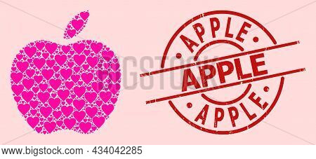 Distress Apple Seal, And Pink Love Heart Mosaic For Apple. Red Round Stamp Seal Contains Apple Text
