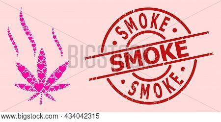 Textured Smoke Stamp Seal, And Pink Love Heart Pattern For Cannabis Smoke. Red Round Stamp Seal Has