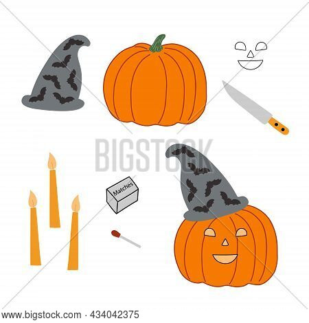 Jack O Lantern Halloween Pumpkin With Funny Face And Hat Step By Step Instruction, Elements For Curv