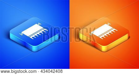 Isometric Towel On Hanger Icon Isolated On Blue And Orange Background. Bathroom Towel Icon. Square B