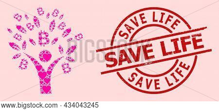 Rubber Save Life Stamp Seal, And Pink Love Heart Pattern For Bitcoin Tree Man. Red Round Stamp Seal