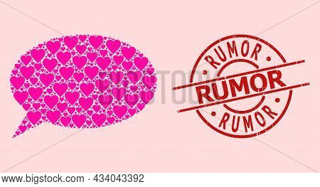 Distress Rumor Seal, And Pink Love Heart Mosaic For Chat Cloud. Red Round Seal Contains Rumor Captio