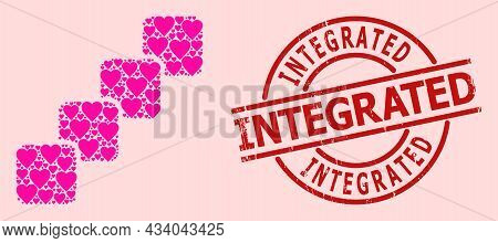 Textured Integrated Stamp Seal, And Pink Love Heart Mosaic For Blockchain. Red Round Seal Contains I