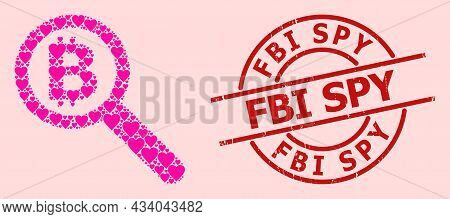 Grunge Fbi Spy Badge, And Pink Love Heart Pattern For Bitcoin Audit. Red Round Badge Includes Fbi Sp