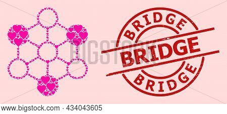 Rubber Bridge Stamp Seal, And Pink Love Heart Mosaic For Blockchain. Red Round Stamp Seal Contains B