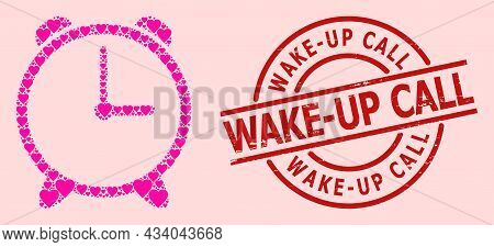 Grunge Wake-up Call Seal, And Pink Love Heart Mosaic For Alarm Clock. Red Round Stamp Seal Has Wake-