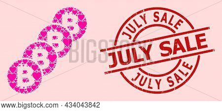 Scratched July Sale Seal, And Pink Love Heart Collage For Bitcoin Coin Blockchain. Red Round Seal In