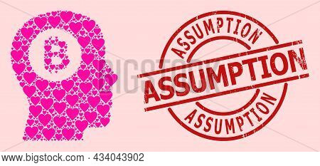 Textured Assumption Stamp Seal, And Pink Love Heart Pattern For Bitcoin Thinking. Red Round Stamp Se