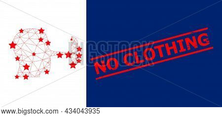 Mesh Liar Mask Polygonal Icon Vector Illustration, And Red No Clothing Rough Seal. Carcass Model Is