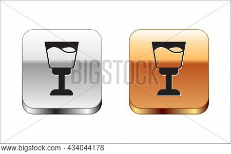 Black Wine Glass Icon Isolated On White Background. Wineglass Sign. Silver And Gold Square Buttons.
