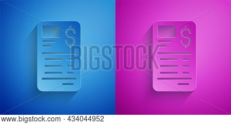 Paper Cut Paper Or Financial Check Icon Isolated On Blue And Purple Background. Paper Print Check, S