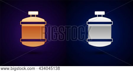 Gold And Silver Propane Gas Tank Icon Isolated On Black Background. Flammable Gas Tank Icon. Vector