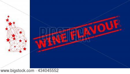 Mesh Brain Steam Polygonal Icon Vector Illustration, And Red Wine Flavour Corroded Badge. Carcass Mo