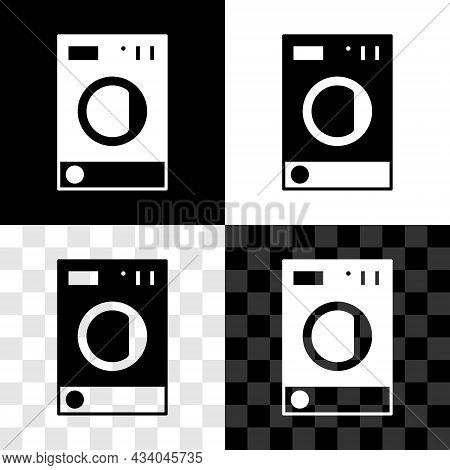 Set Washer Icon Isolated On Black And White, Transparent Background. Washing Machine Icon. Clothes W