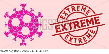 Textured Extreme Stamp, And Pink Love Heart Mosaic For Covid-2019 Virus. Red Round Stamp Seal Contai