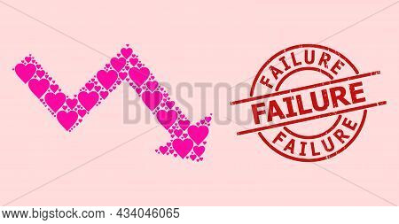 Textured Failure Stamp Seal, And Pink Love Heart Mosaic For Recession Arrow. Red Round Stamp Seal Co