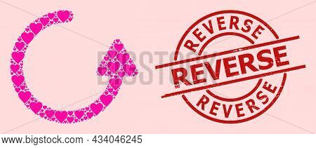 Grunge Reverse Stamp Seal, And Pink Love Heart Mosaic For Rotate Left Arrow. Red Round Stamp Seal Ha