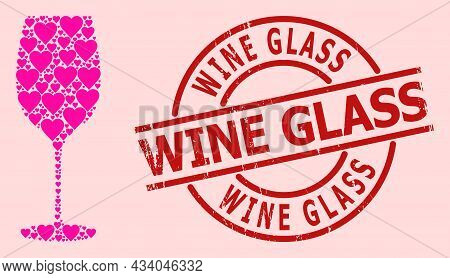Scratched Wine Glass Stamp Seal, And Pink Love Heart Collage For Wine Glass. Red Round Stamp Seal Ha